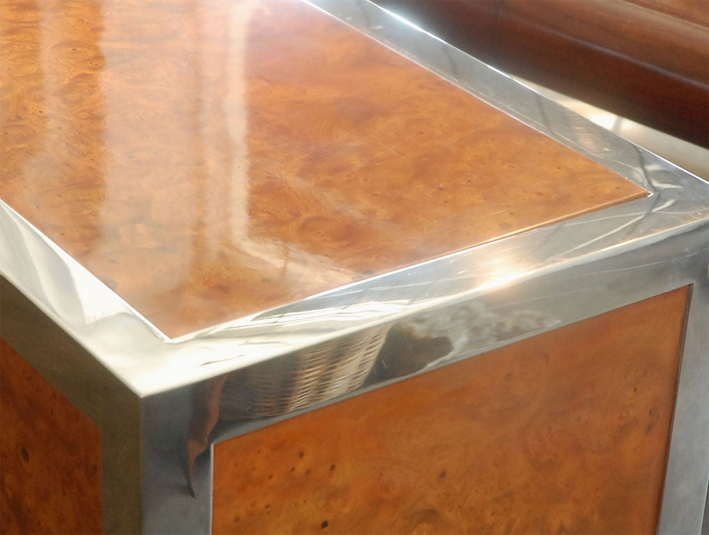 Pace collection polished stainless steel and burl wood for Burl wood kitchen cabinets