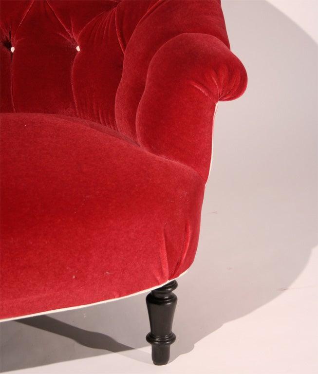 A Napoleon III Red Mohair Velvet Loveseat image 6