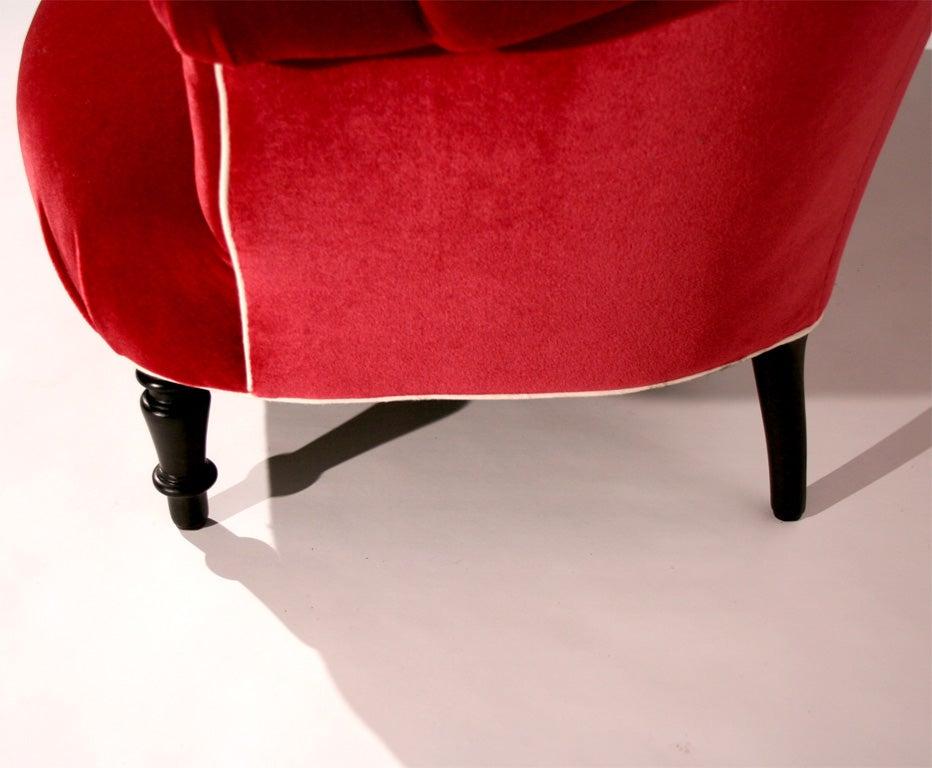 A Napoleon III Red Mohair Velvet Loveseat image 7