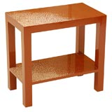 Two-Tiered Side Table with Interesting Eggshell Lacquer Finish