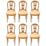 Set of Six Louis XVI Style Balloon-Back Dining Chairs by Jansen