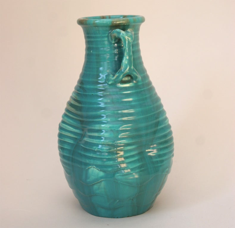 Japanese Awaji Pottery Turquoise Vase Of Distressed Form