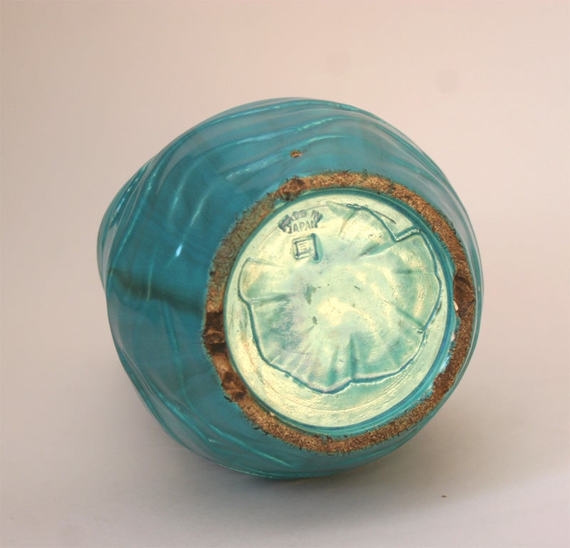 Japanese Awaji Pottery Turquoise Vase Of Distressed Form