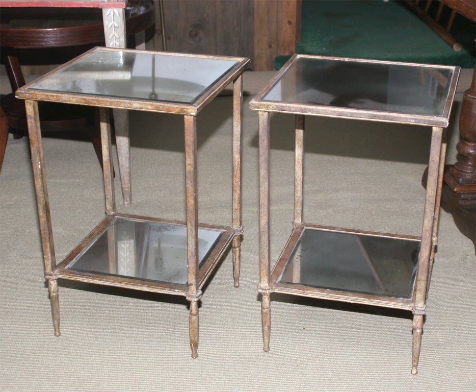Pair of Gilt Metal and Mercury Glass End Tables at 1stdibs