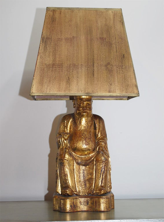 Buddha Lamp With Original Shade By James Mont At 1stdibs