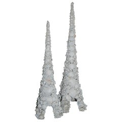 Monumental Pair of Shell Towers in the Style of Tony Duquette