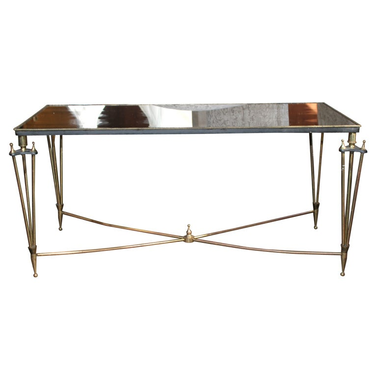 Brass Mirror Top Coffee Table At 1stdibs