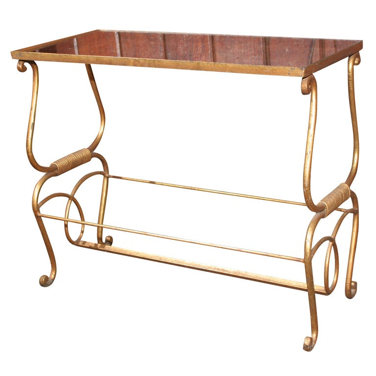 Small gilt metal table at 1stdibs for Small metal console table