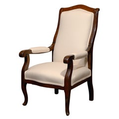 French Petite Wooden Louis-Philippe Style Upholstered Child's Armchair