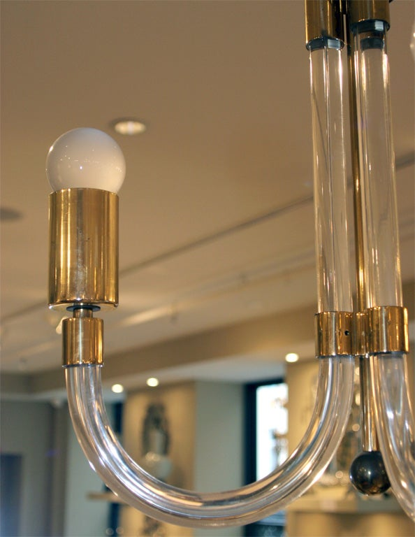 Late 20th Century Charles Hollis Jones Lucite and Brass Chandelier