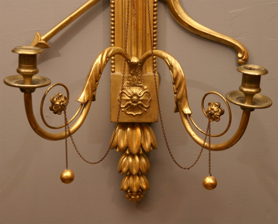 Pair of 19th Century Giltwood Wall Sconces For Sale 1