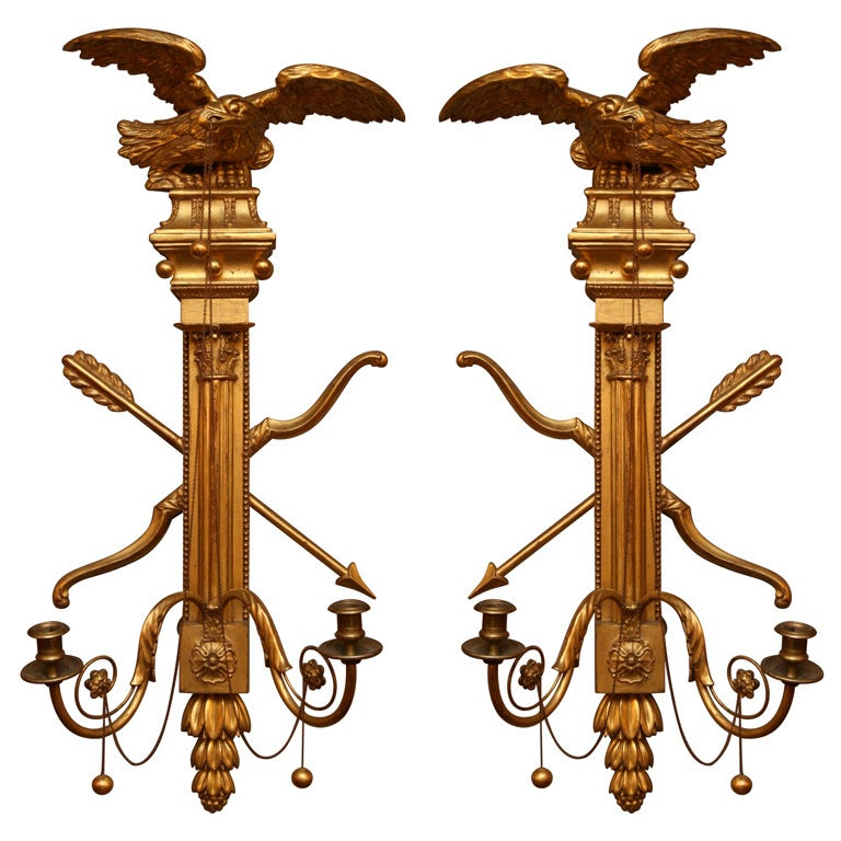 Pair of 19th Century Giltwood Wall Sconces For Sale