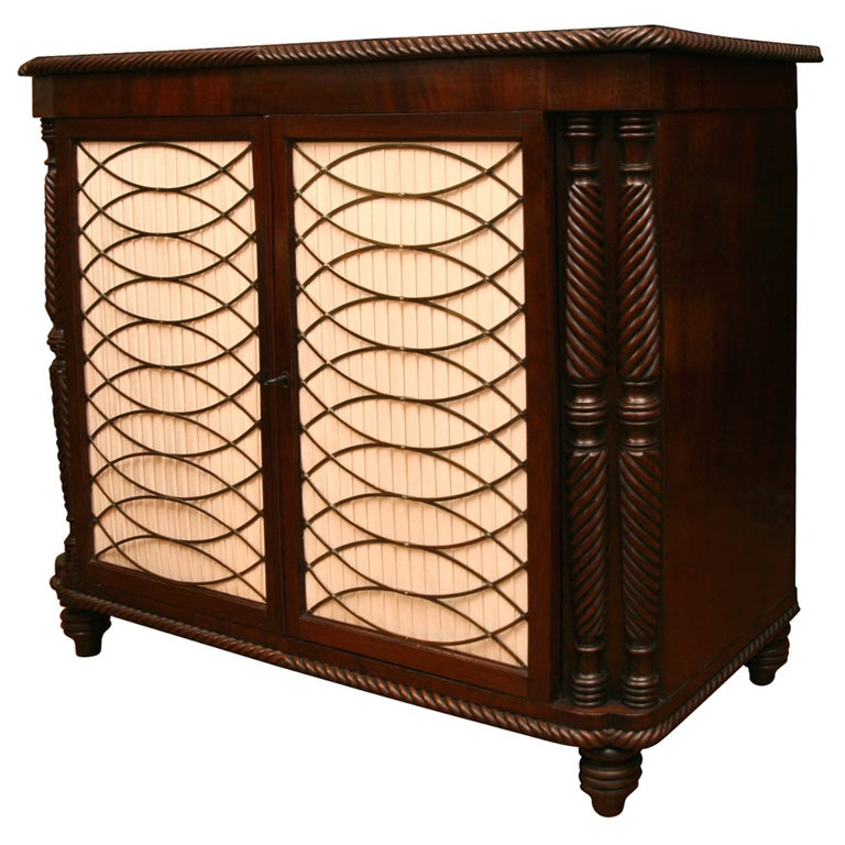 Irish Regency Mahogany Cabinet With Brass Grill Doors At
