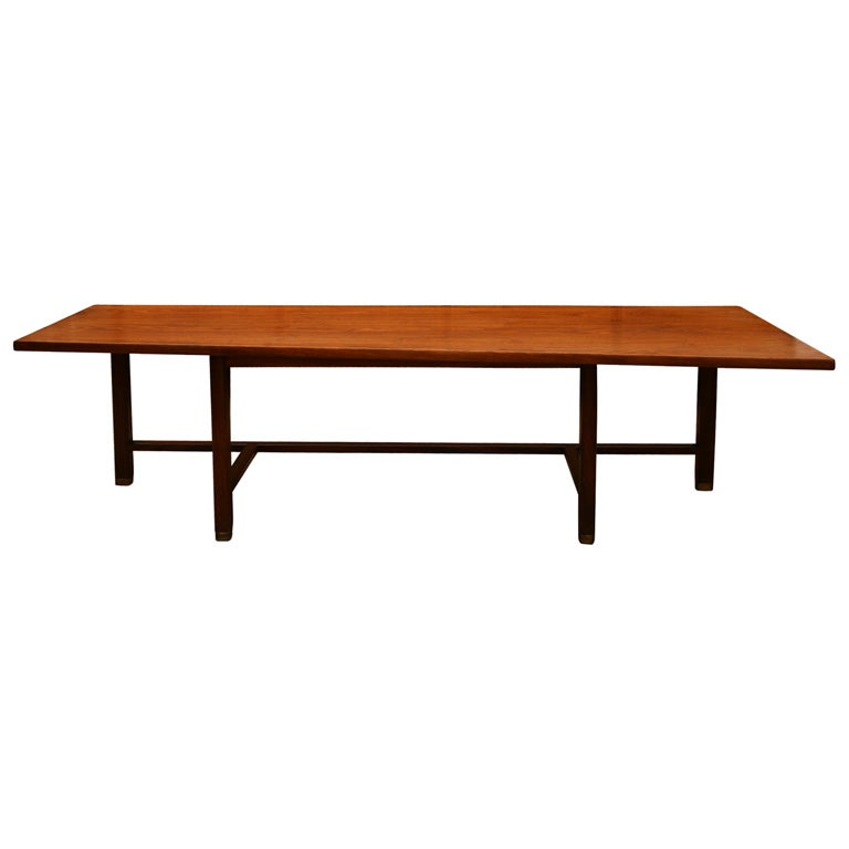 Edward Wormley Wedge Shaped Coffee Table With Brass Feet At 1stdibs