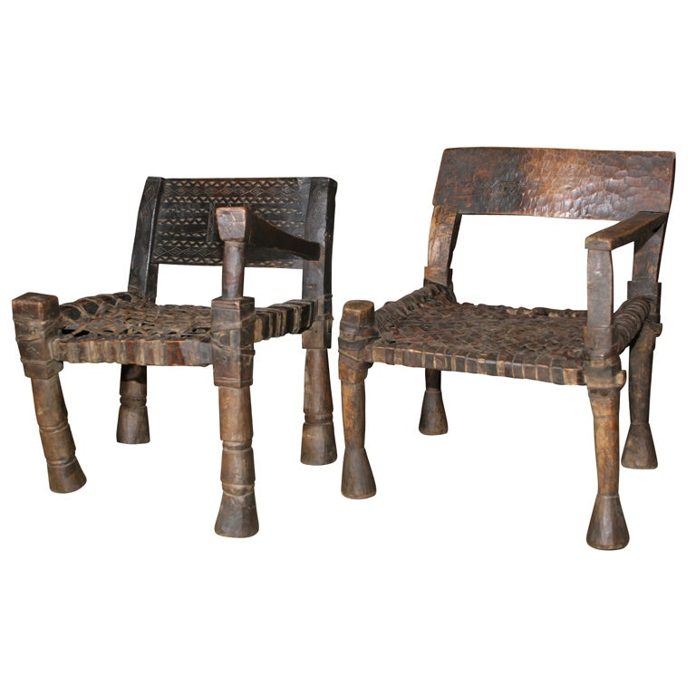 One Armed Ethiopian Chairs With Leather Woven Seats At 1stdibs