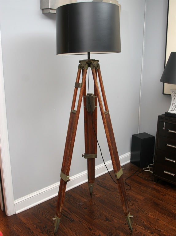 Wood Tripod Lamp At 1stdibs