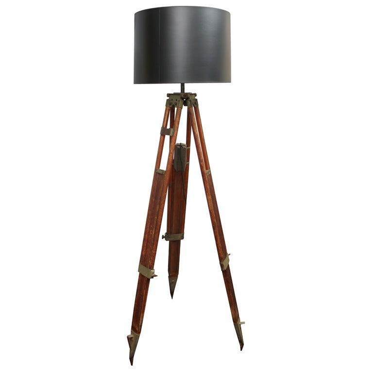 Wood tripod lamp at 1stdibs for Surveyors floor lamp wood