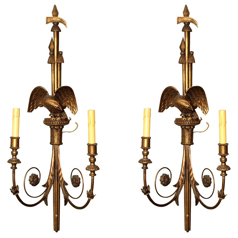 pair old american federal style two light sconces at 1stdibs. Black Bedroom Furniture Sets. Home Design Ideas