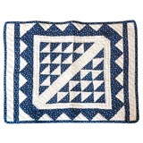 19TH CENTURY RARE MINIATURE BLUE AND WHITE DOLL QUILT
