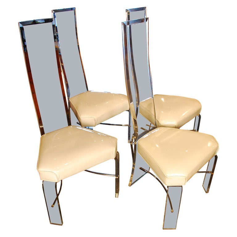 Set of four lucite dining chairs at 1stdibs