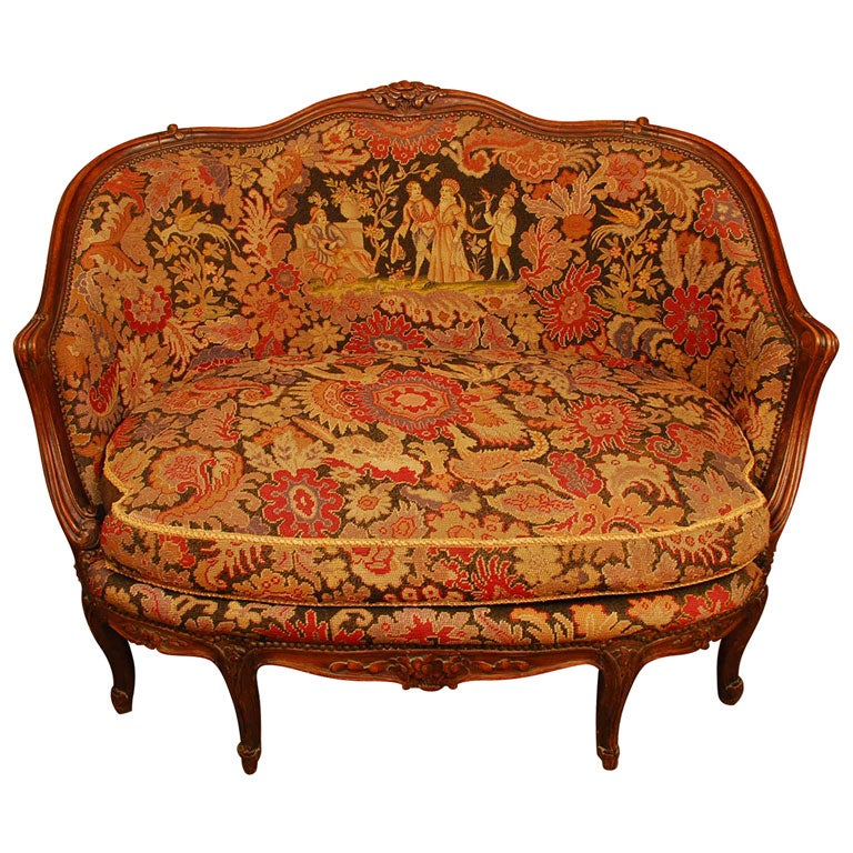 Louis xv walnut canape with needlepoint upholstery at 1stdibs for Louis xv canape sofa