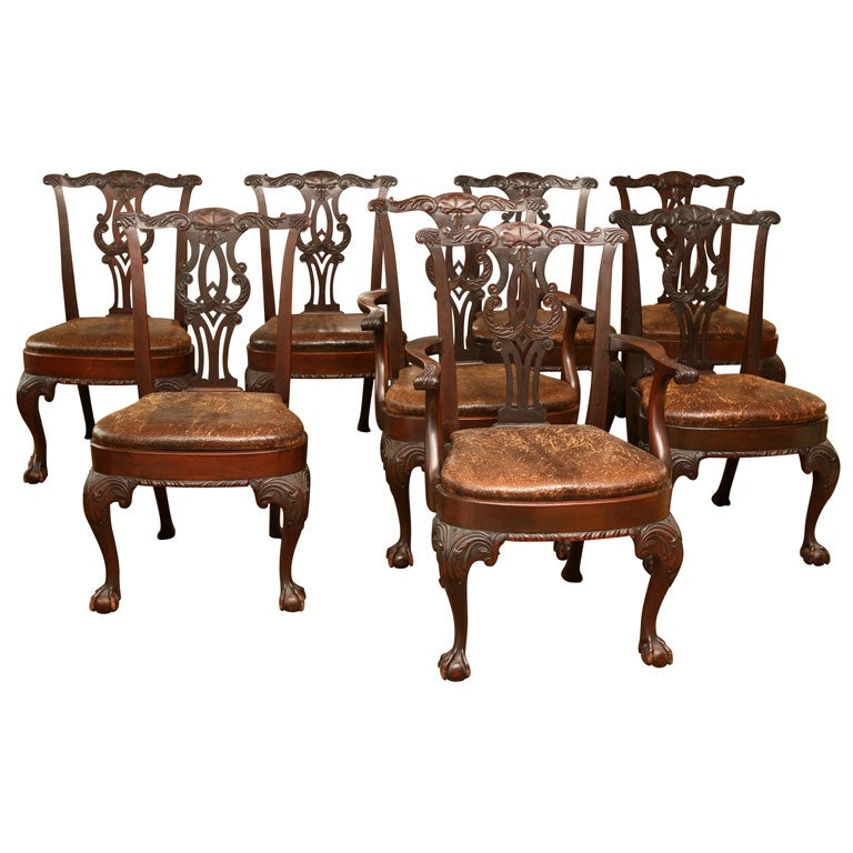 Set of 8 antique chippendale dining chairs at 1stdibs for 8 dining room chairs