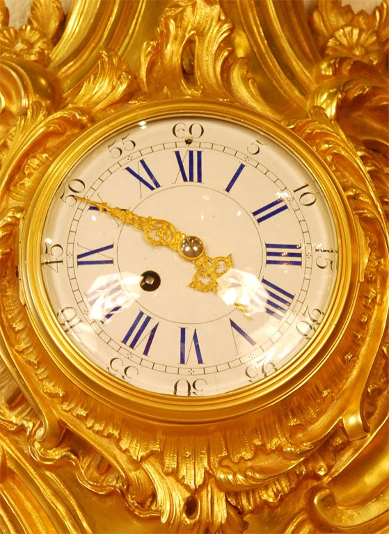 French Louis XV Style Cartel Clock For Sale