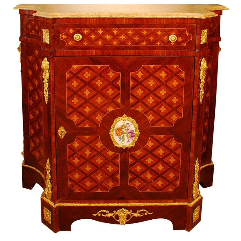 Louis XVI Style Cabinet with Marble Top and Porcelain Placque For Sale