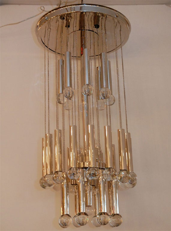 Nickel Plated Chandelier with Glass Globes. Newly Plated.Rewired. 2 Matching Chandeliers Available.