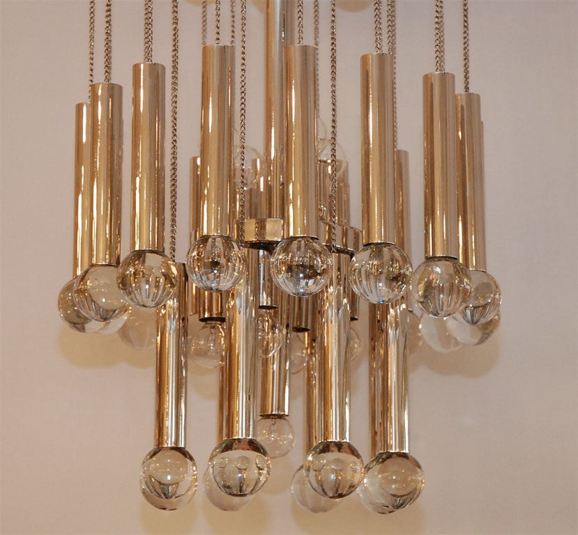 Italian Chandelier with Glass Globes In Excellent Condition For Sale In Los Angeles, CA