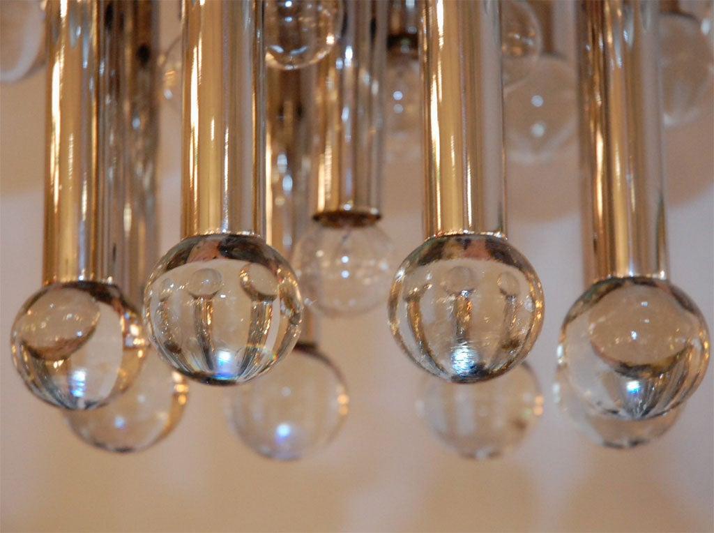 Italian Chandelier with Glass Globes For Sale 2
