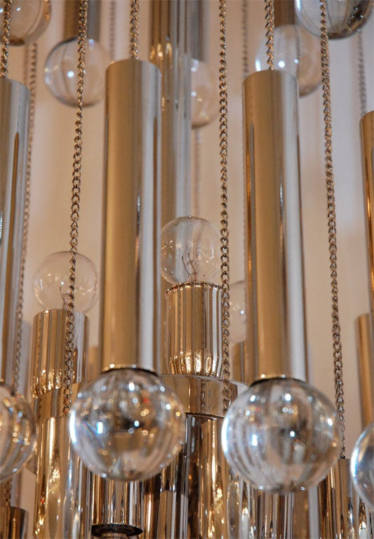 Italian Chandelier with Glass Globes For Sale 3