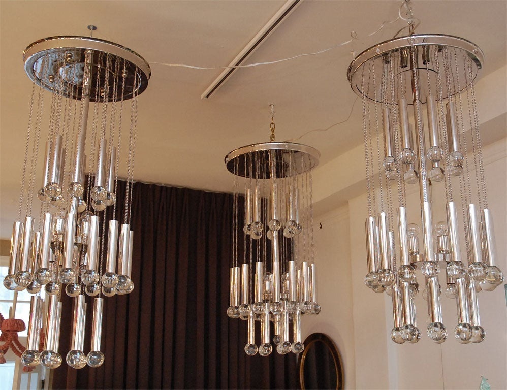 Italian Chandelier with Glass Globes For Sale 4