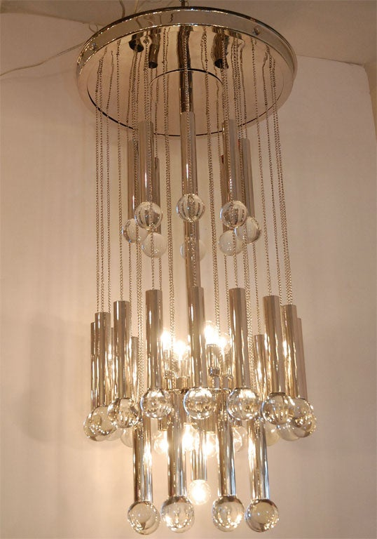 Italian Chandelier with Glass Globes For Sale 5