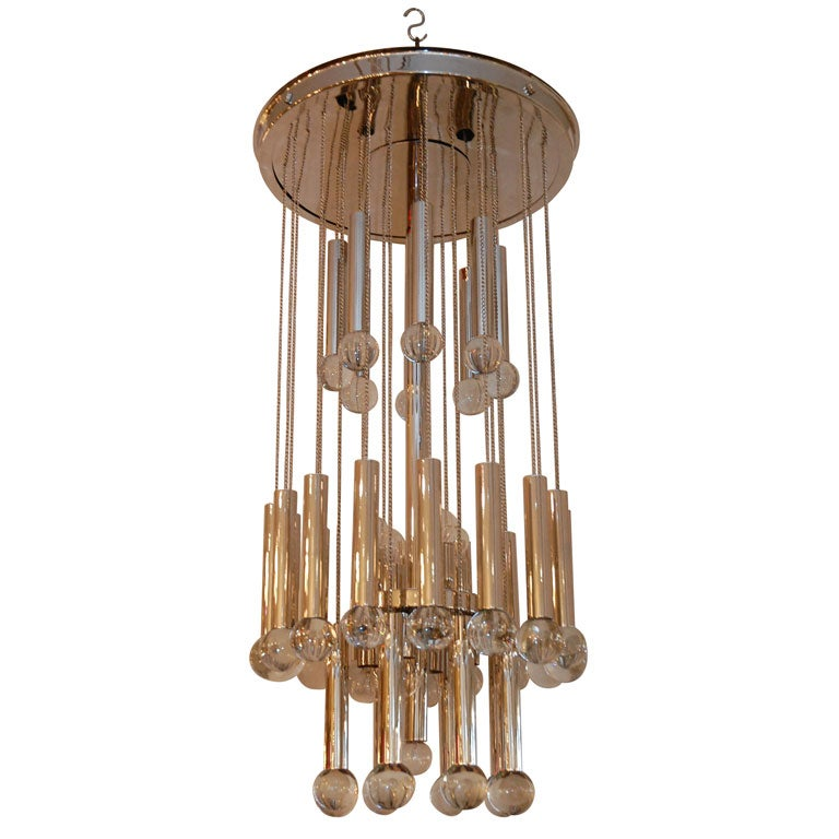 Italian Chandelier with Glass Globes For Sale