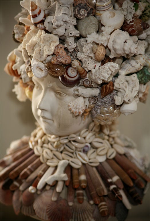 Coral Fanciful Sea Shell Bust