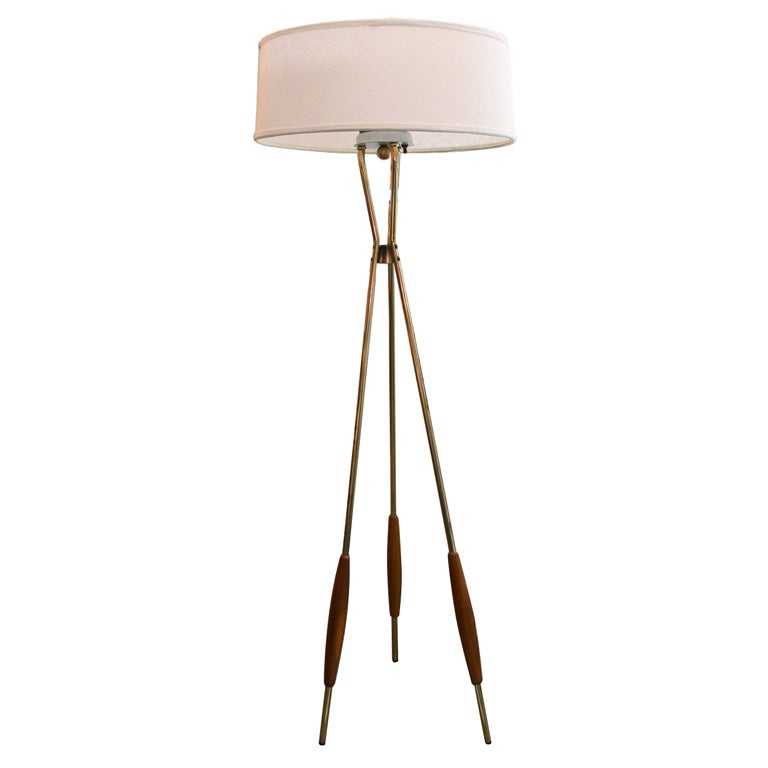 Gerald Thurston For Lightolier Tripod Floor Lamp At 1stdibs