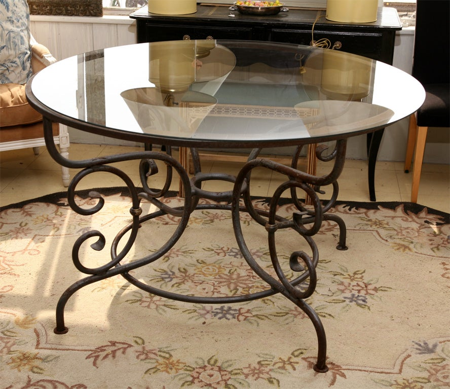 round metal table base for indoor or outdoor dining at 1stdibs. Black Bedroom Furniture Sets. Home Design Ideas