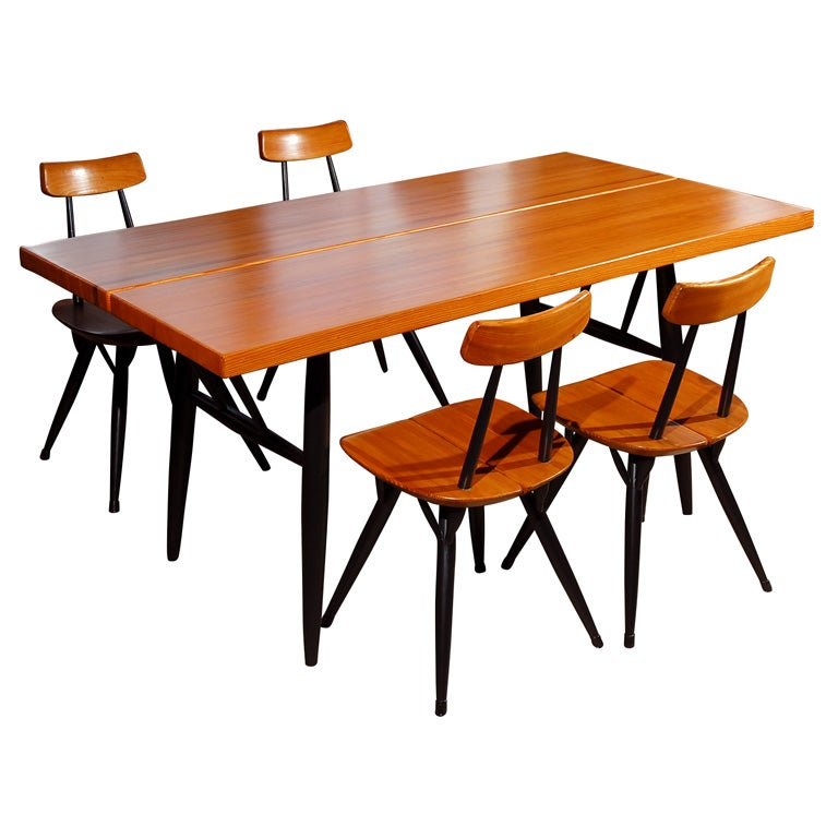 Ilmari tapiovaara 2 tone dining table and 4 chairs at 1stdibs for 2 tone dining room tables