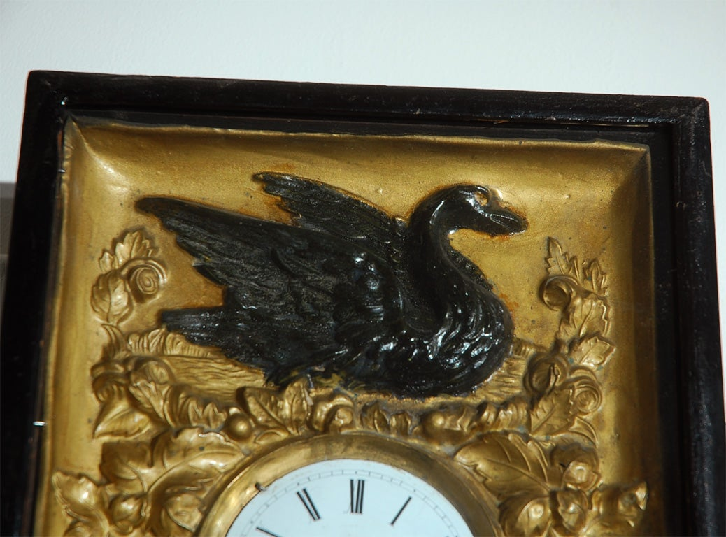wall clock with bird and floral decoration for sale at 1stdibs