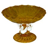 MURANO COMPOTE BOWL WITH THREE WHITE SWANS