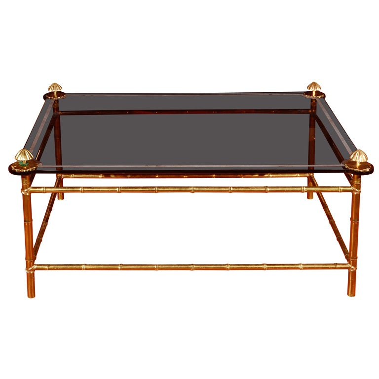 Faux Bamboo Brass Coffee Table With Black Glass Top At 1stdibs