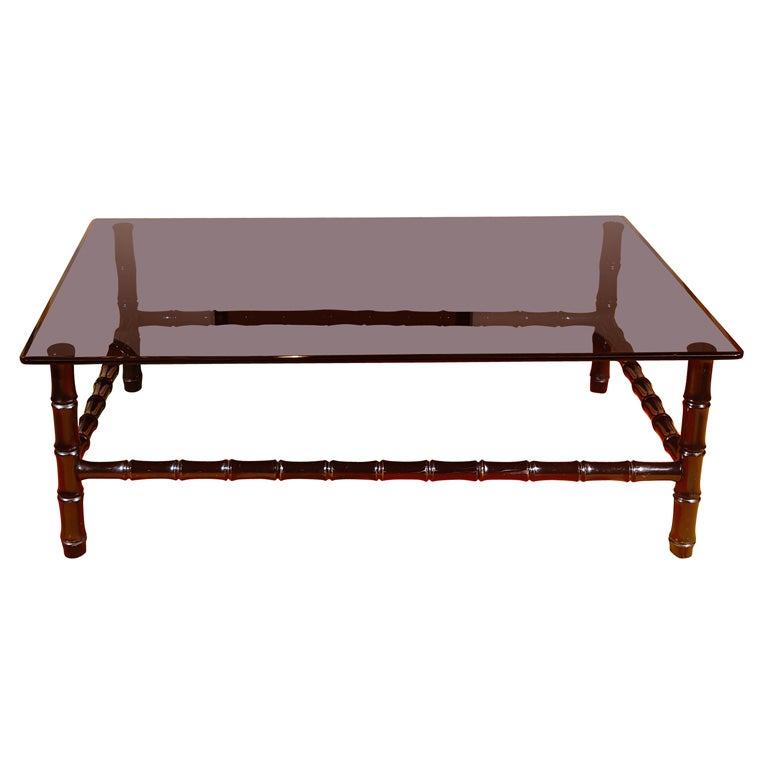 Faux Bamboo Wood Coffee Table With Black Glass Top At 1stdibs