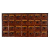Early 19th Century English Apothecary Wall Chest with Handwritten Labels
