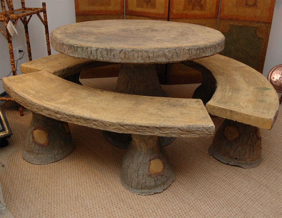 1930 s french faux bois garden table and benches at 1stdibs