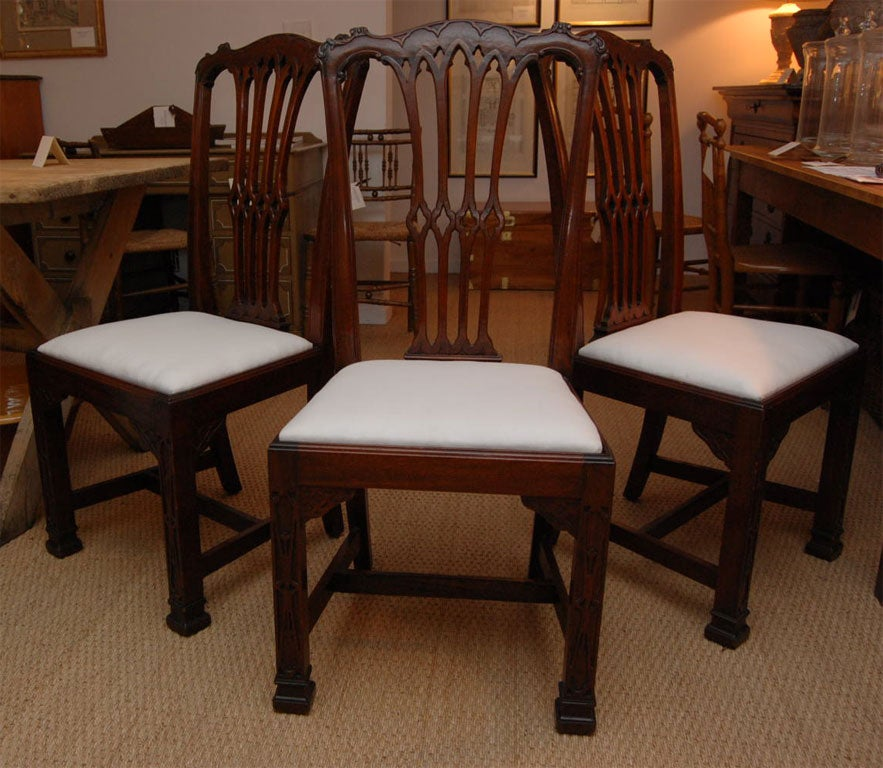 Set Of 6 19th Century Mahogany Chippendale Gothic Dining