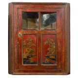 19th Century Chinoiserie Red Lacquer Hanging Corner Cupboard