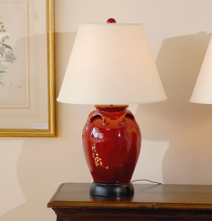Pair Of Red Ceramic Lamps With Matching Finials At 1stdibs