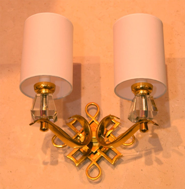 French Bronze and Crystal Sconces In Good Condition For Sale In New York, NY