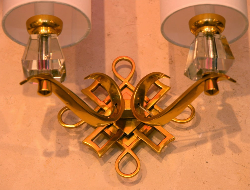 Mid-20th Century French Bronze and Crystal Sconces For Sale